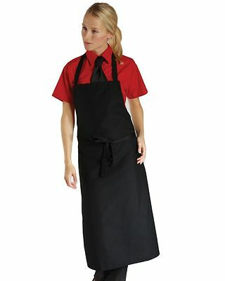 White Black Maroon Long Bib Poly Cotton Bib Apron Chef Restaurant Catering Food