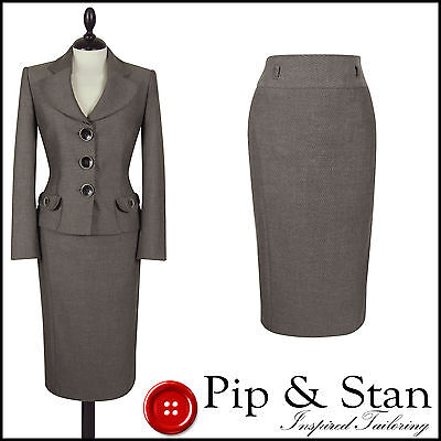 Next Uk14 Us10 Beige Pencil Skirt Suit 50S Inspired Women Size Pip And Stan