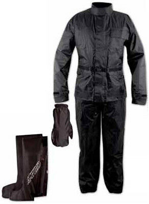 Waterproof Motorcycle Motorbike 4 pc Rain Suit Jacket Trousers Gloves Boots
