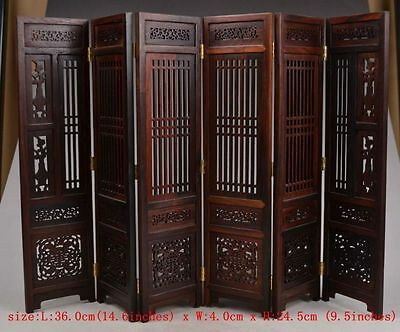Collectibles-Old-Decorated-Handwork-Wood-Hollow-Out-Carved-Flower-Screen-Model