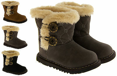 New Baby Girls Fur Lined Warm Winter Button Hugg Boot UK Infant Shoe Sz Size 3