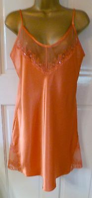 Vtg Style Vanity Ultra Femme Nightdress Chemise Deep Peach Liquid Satin Sz12-14