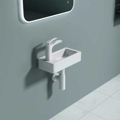 Durovin Small Mini Hand Wash Basin Sink Wall Hung Mount One Tap Hole Easy Clean