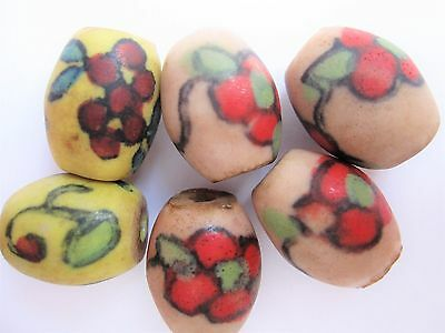 Loose beads. 6 handmade vintage ceramic beads. 17mm x 14mm