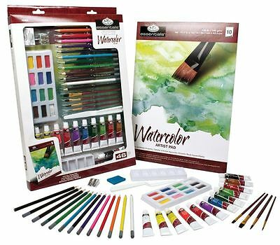 Royal & Langnickel Watercolour Paint Set Art Essentials 46 Piece Starter Kit