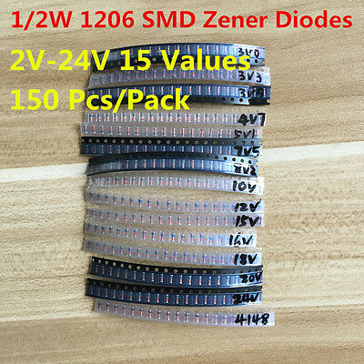 150PC 15 Values 0.5W 1/2W 2V-24V 1206 SMD Zener Diode Diodes Assorted Kit LL34