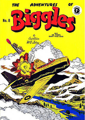 ADVENTURES OF BIGGLES No.8 -  VERY RARE EARLY 68 PAGE 1/-  COMIC Facsimile