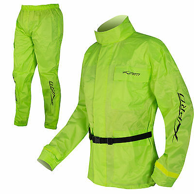 Motorcycle Motorbike Rain Over Suit 2 pc Waterproof Scooter Hi Vis Sonicmoto
