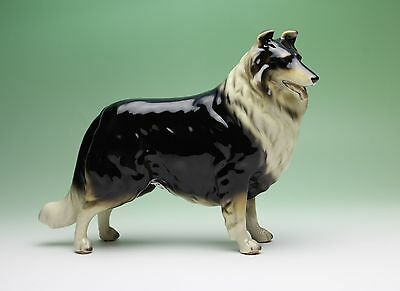 Tricolor Rough Collie Porcelain Standing Dog Figurine Japan NEW Gloss Finish