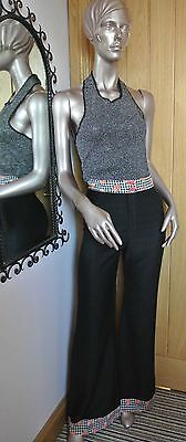 Original 1970s High Waist Wide Leg Trousers with Gingham Trim - Size 8/10