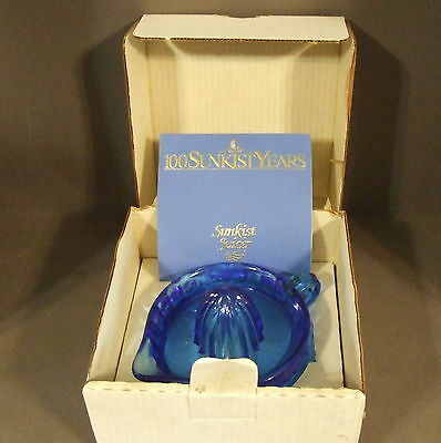 SUNKIST JUICER REAMER 100th ANNIVERSARY LIM. ED. 1893-1993 CLEAR BLUE GLASS MIB