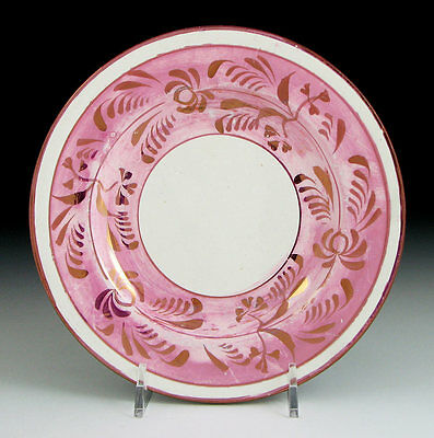 Antique Staffordshire Pearlware Pink Luster Roses Plate