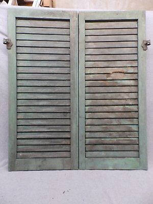 Antique Pair Window Wood Louvered Shutter Shabby Old Chic Vtg 37x15 109-17R