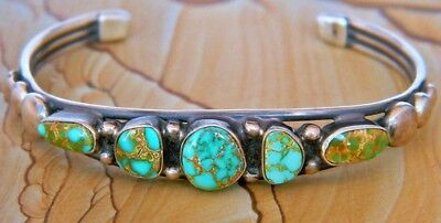 Vintage Sterling Silver CARICO LAKE TURQUOISE Row Bracelet by Vernon Begay Sz-6