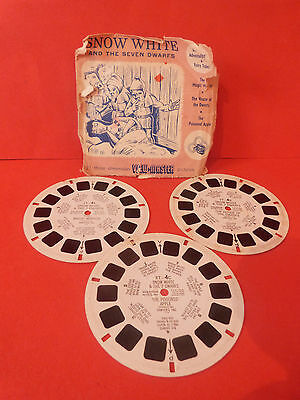 Vintage Snow White And The Seven Dwarfs * X3 View Master Reels * 1955 * Rare