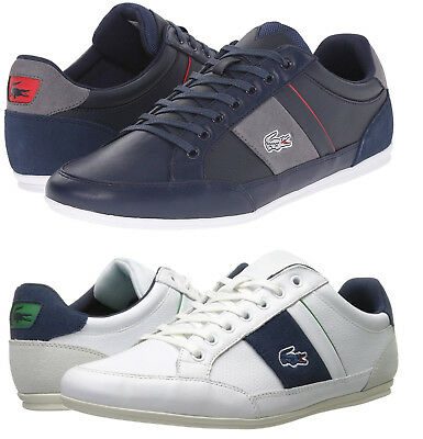 547b5a5ac539 Lacoste Men s Chaymon Casual Shoes White Navy Lace Up Leather Sneakers NEW