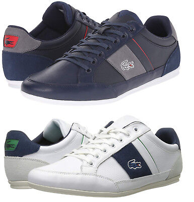 e7390571ba2b62 Lacoste Men s Chaymon Casual Shoes White Navy Lace Up Leather Sneakers NEW