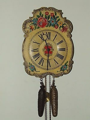 Vintage Mid Century Hand Painted Black Forest German Weight Driven Wall Clock