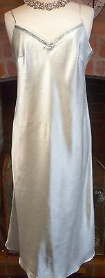 Vtg Style M&s Per Una Green + Silver Nightdress Slithery Liquid Satin 10