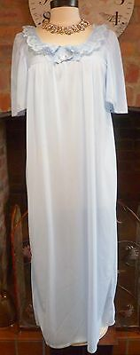 Vintage Ultra Femme French Silky Sheer Blue Nightdress Size 14