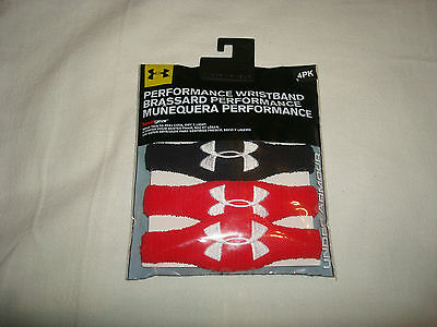 UNDER ARMOUR UA HeatGear Performance Wristband 4-pack Black/Red - NEW