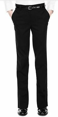 "BNWT M&S Black Belted Skinny Leg School Trousers 29"" Waist Inside Leg 29.5"""