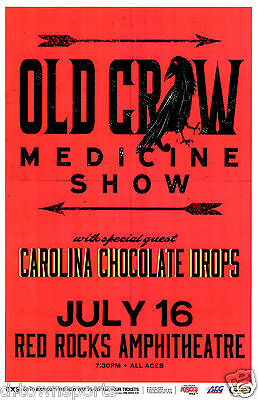 OLD CROW MEDICINE SHOW 2014 live @ Red Rocks 11x17 Concert Flyer / Show Poster