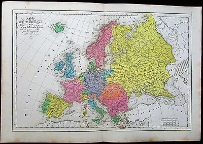 Europe France Russia Austria Turkey Greece c.1855 antique hand color map