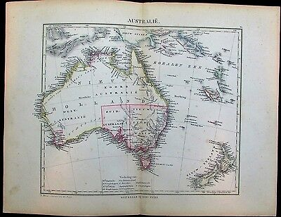 Australia New Zealand Tasmania Indonesia Pacific c. 1865 Petri rare antique map