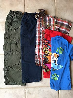 Boys Lot Cargo Pants T Shirts, Size 6/7, 6, 7, Faded Glory 5 Items