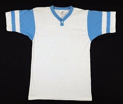 Vtg 1980s Bantam Blank Stripe Sleeve T-Shirt button collar deadstock
