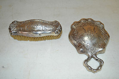 Antique Blackinton Ornate Sterling Silver ART NOUVEAU Hand Mirror and Brush