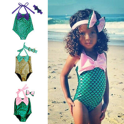 Kids Baby Girls Little Mermaid Swimwear Costume Bikini Set Bathing Suit Headband