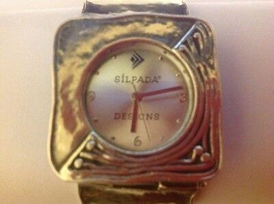 Silpada Designs RETIRED Hammered Sterling Silver Bracelet Watch T1372 ~BEAUTIFUL