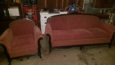 Antique Furniture couch and matching chair early 1900's Mauve sculptured fabric