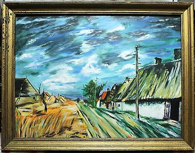 Framed Oil Painting On Board - Colourful Impressionist Country Road Landscape