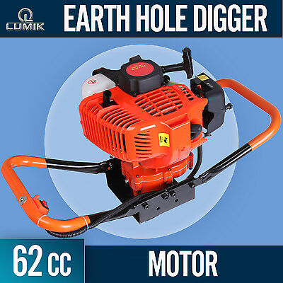 NEW 62cc Post Hole Digger Earth Auger Motor Petrol Drill Engine Fence Borer