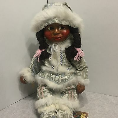 "Vintage 1988 Rare Signed Naber Kids ""MAXINE"" The Eskimo Kid Casted Wooden Doll"
