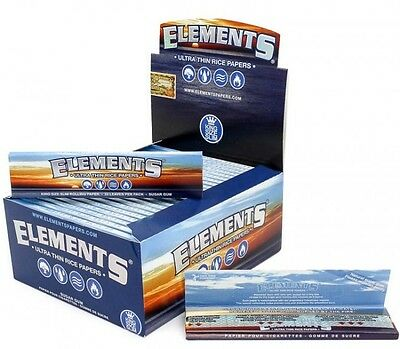 Elements King Size Slim Ultra Thin Rice Rolling Paper Box - 50 Packs/Box