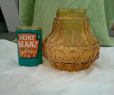 "Vintage Retro  AMBER  GLASS CEILING LIGHT SHADE cover  ""LOOK"""