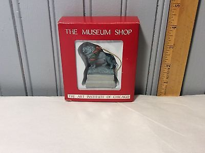 The Museum Shop Art Institute Of Chicago Lion Sculpture With Wreath Xmas Mib