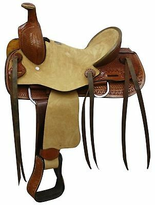 "12"" Double T Youth Hard Seat Roper Style Saddle With Basket Weave Tooling!"
