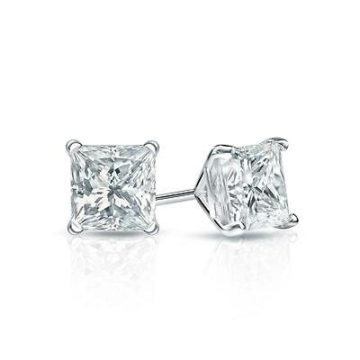 2 Ct. Princess Cut Earrings Studs Real 14K White Gold Martini Screw Back