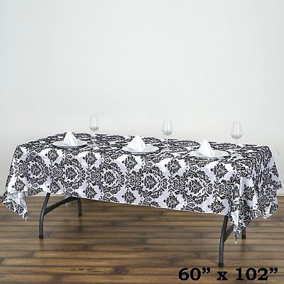 "60x102"" Black Flocking Damask Tablecloth Wedding Banquet Party Décor"