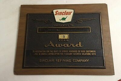Vintage Sinclair Gas Oil Service Award Sign Dino Plaque Pump