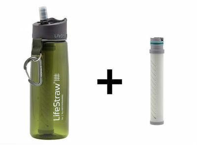 LifeStraw Go 2-Stage Filtration Water Bottle GREEN with spare filter element