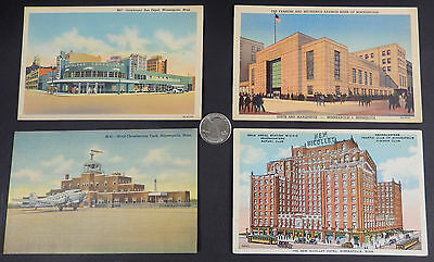 4 Antique Unused Minneapolis MN Linen Postcards- Early Color Lithograph