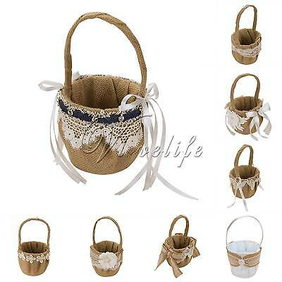 New Burlap Hessian Lace Wedding Flower Basket Rustic Country Vintage Decoraitons
