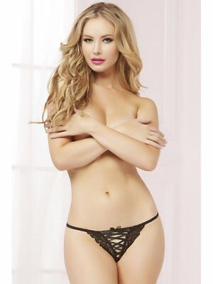 NEW Seven Til Midnight 10615 Tropical Galloon Lace Thong - Black Size Large