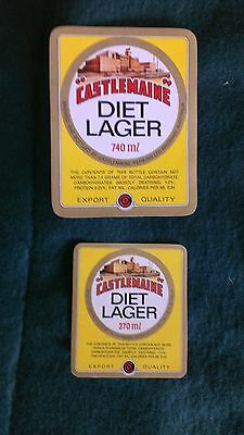 2x Castlemaine Diet Lager Beer Labels